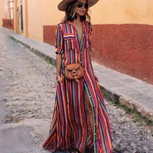 2019 Explosion Color Stripe Print Bohemian Dress Five-point Sleeve Lapel Single-breasted Casual Women