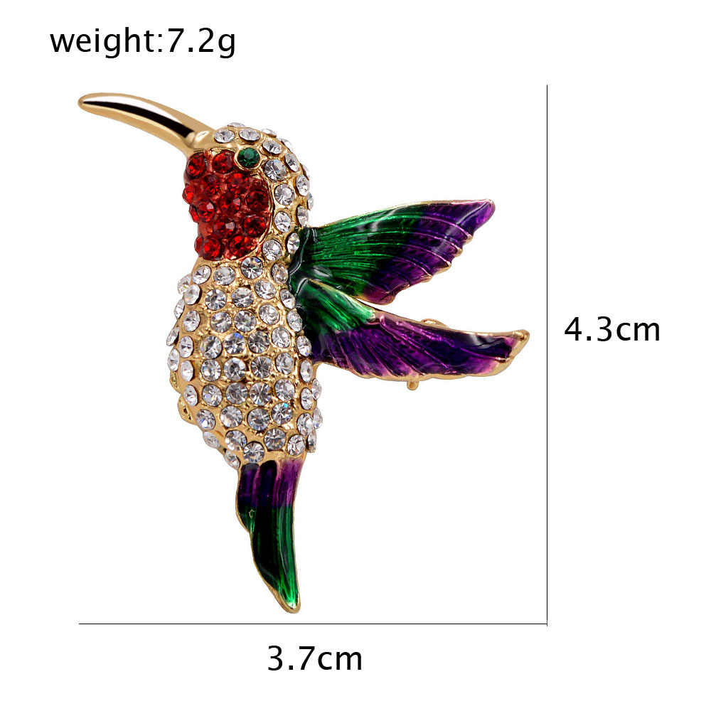 Cindy Xiang Burung Baru Gaya CZ Berlian Imitasi Hummingbird Bros untuk Wanita Kecil Cute Hewan Bros Pin Gaun Mantel Aksesoris