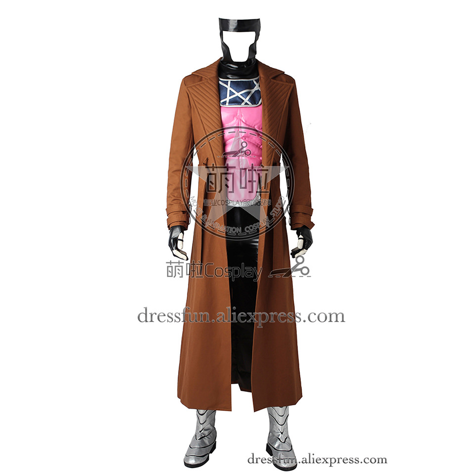 X-Men Cosplay Costume Gambit Remy Etienne LeBeau Costume Brown Trench Coat with Pink Vest Outfits Full Set Uniform Halloween