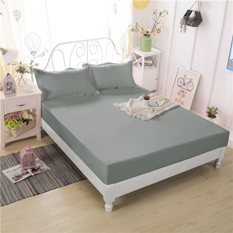 Gray Solid Bed Linens Bed Protection Pad Polyester Cotton Fiber Waterproof Fitted Sheet Multisize Mattress Cover