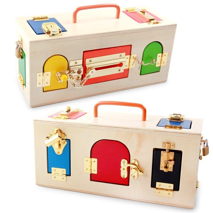 Montessori boîte à serrure en bois éducatif petite enfance préscolaire jouets de pépinière jeu de mémoire apprentissage formation éducative