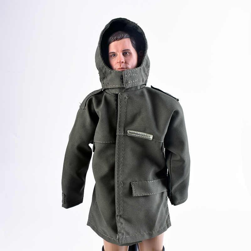Ropa con capucha de dragón para figura a escala 1/6, abrigo de tela para lluvia, chaqueta cortavientos holgado de color verde militar, cuerpo de juguete con figuras de acción de 12 pulgadas