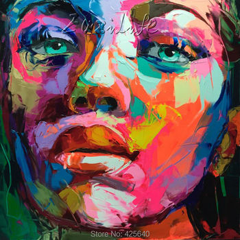 Palette knife painting portrait Palette knife Face Oil painting Impasto figure on canvas Hand painted Francoise Nielly 15-39
