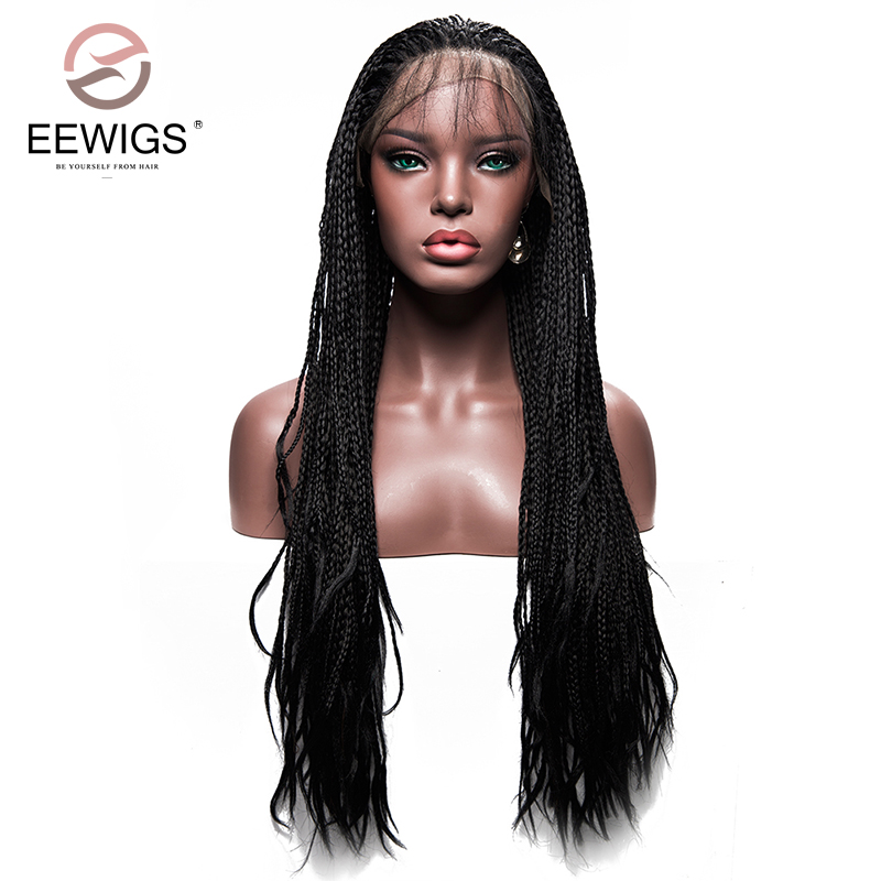 Длинные черные плетеный ящик косы парик синтетического Высокая Температура Волокно Синтетические волосы на кружеве Искусственные парики ...