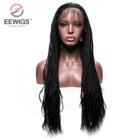 Long Black Braided Box Braids Wig Synthetic High Temperature Fiber Lace Front Wigs For Women 30 inch Lady's Wig