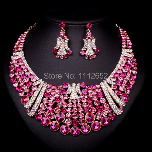 Fashion Bridal Jewelry Sets Pink Crystal Statement Gold Color Necklaces Earring For Brides Wedding Party Prom