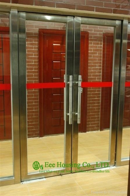 Unique Fire Door : Flush stainless steel doors and frames with glass lites