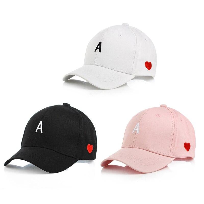 Apparel Accessories Women Men Cute Red Love Heart Cap Letter A Embroidery Baseball Cap Adjustable Snapback Caps White Pink Black Summer Hip-hop Hat