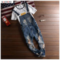 Men's 2016 New Fashion Brand Hole Denim Bib Jeans Man Cool Stylish Jeans Jumpsuits Overalls Men Rompers Plus Size S-2XL