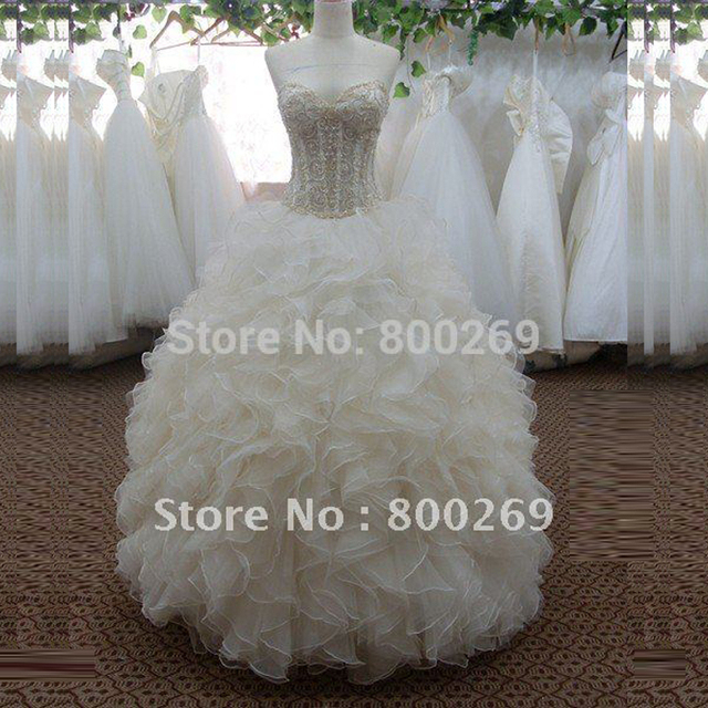 Free Shipping Sweetheart Wedding Dress Ball Gown Organza Ruffled Bridal Gowns SL-3783