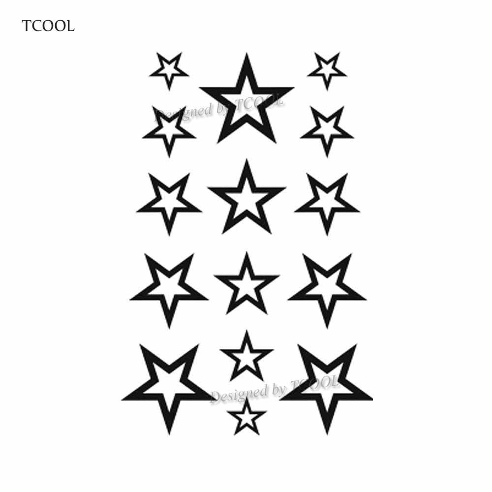 HXMAN Five Pointed Star Temporary Fake Tattoo Body Art Sticker Waterproof Face Tattoo Sticker For Women Children 10.5X6cm G-012