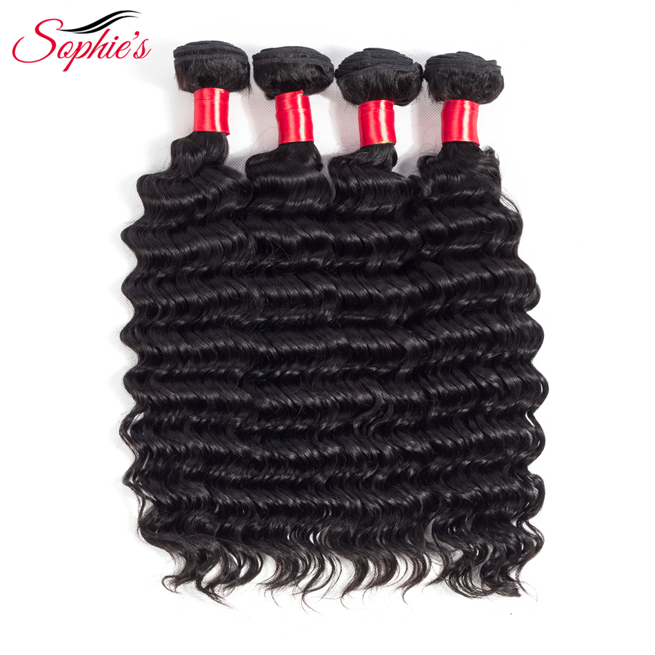 Sophie;s Hair Deep Wave Human Hair 4 Bundles  Non-Remy Hair Weaves Malaysian 8-26Inch Natural Color Extensions