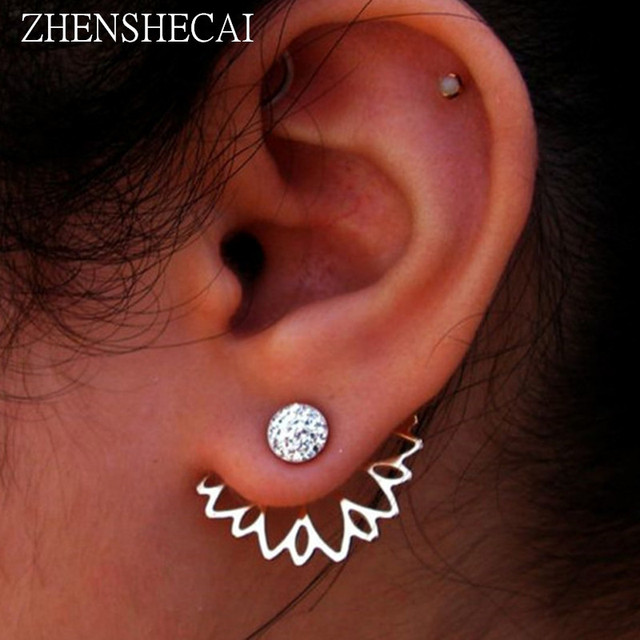 Crystal Flower Double Sided Gold Silver drop earrings For Women fashion Jewelry  2