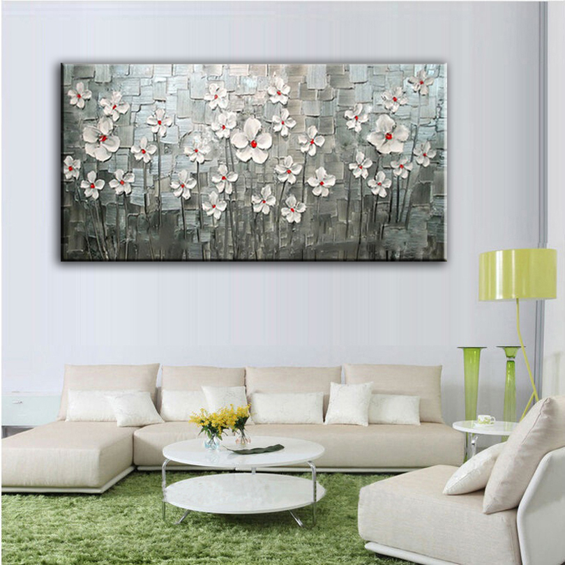 font b Knife b font painting Oil Painting Home decoration high quality canvas Flower pictures