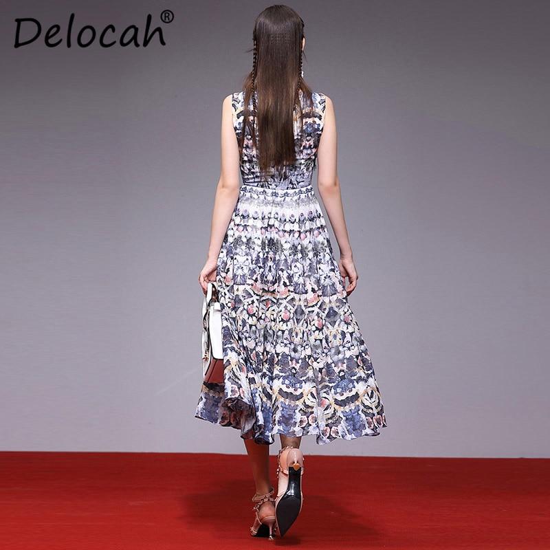 Robes Magnifique Perles Multi longueur Robe Imprimé Élégant Genou Manches Fashion Delocah Printemps Designer D'été Piste Femmes Mince 8SxpgaqZp