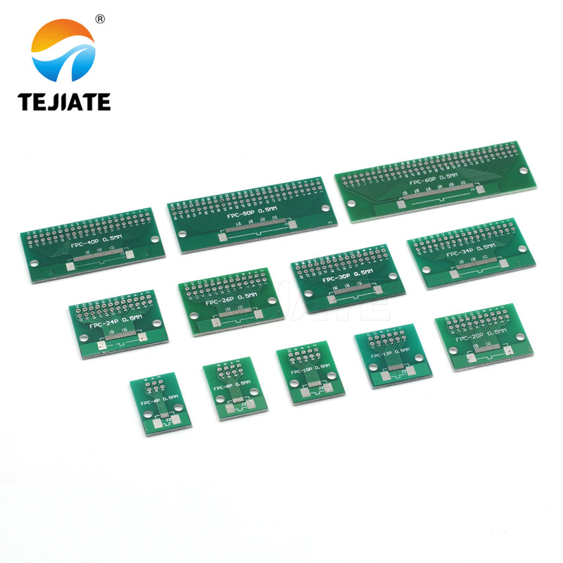 Doppel Seite 0,5mm 1mm FFC FPC 6 8 10 <font><b>12</b></font> 20 30 40 50 60 <font><b>Pin</b></font> zu 2,54mm FPC/FFC SMT Adapter Buchse Platte PCB Board connector image