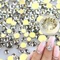 1 caja de 120 unids de la ES3-10 Nail Rhinestones Oro Flatback de Cristal Blanco Claro Joya de Diamantes de Cristal para DIY Decoraciones Del Arte Del Clavo ND283