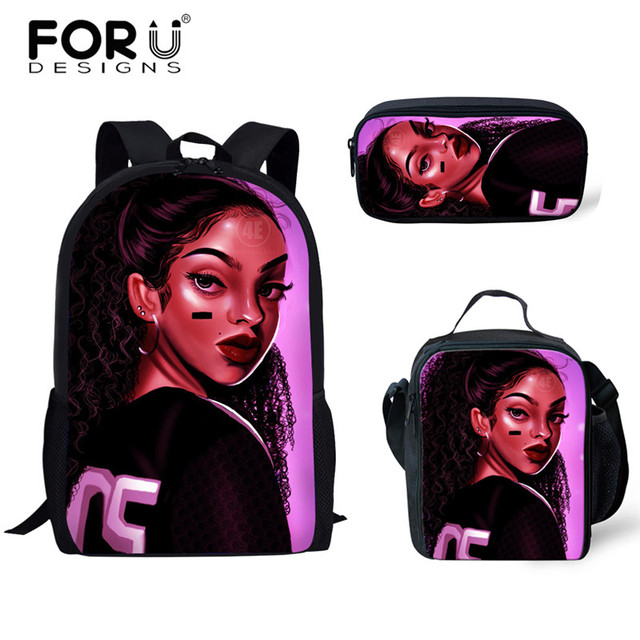 FORUDESIGNS Girls School Bags African Black Girls Hairstyle School Backpack Set Scool Bag For Girl Kids Girl Backpack Junior Bag 1