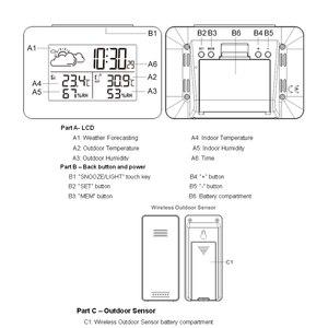 Image 4 - جهاز قياس الرطوبة بمستشعر لاسلكي رقمي متعدد الوظائف مزود بمصباح LED وساعة منضدة ومنبه