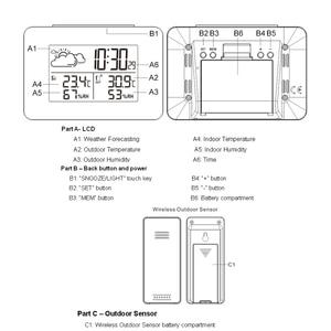 Image 4 - Digitale Weerstation Draadloze Sensor Hygrometer Thermometer multifunctionele LED desktop Tafel klok Alarm