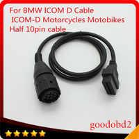 Para bmw icom d cabo ICOM-D motobikes 10 pinos adaptador 10pin para 16pin obd2 obdii cabo de diagnóstico I-COM a2 ferramenta cabos