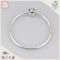 New Collection Beautiful Enamel Flower Clasp 925 Sterling Silver Bangle For European Charm
