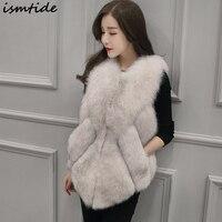 Ismtide Women's Waistcoat Fur Vest Autumn Vest Leather Faux Fox Fur Long Section Winter Irregular Vest Coat Chaleco Piel Mujer