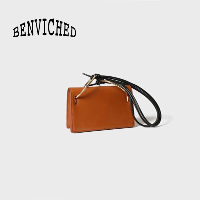 BENVICHED 2019 Fashion personalized handbag concise dinner single shoulder bag metal ring cowhide and small square bag c091BENVICHED 2019 Fashion personalized handbag concise dinner single shoulder bag metal ring cowhide and small square bag c091