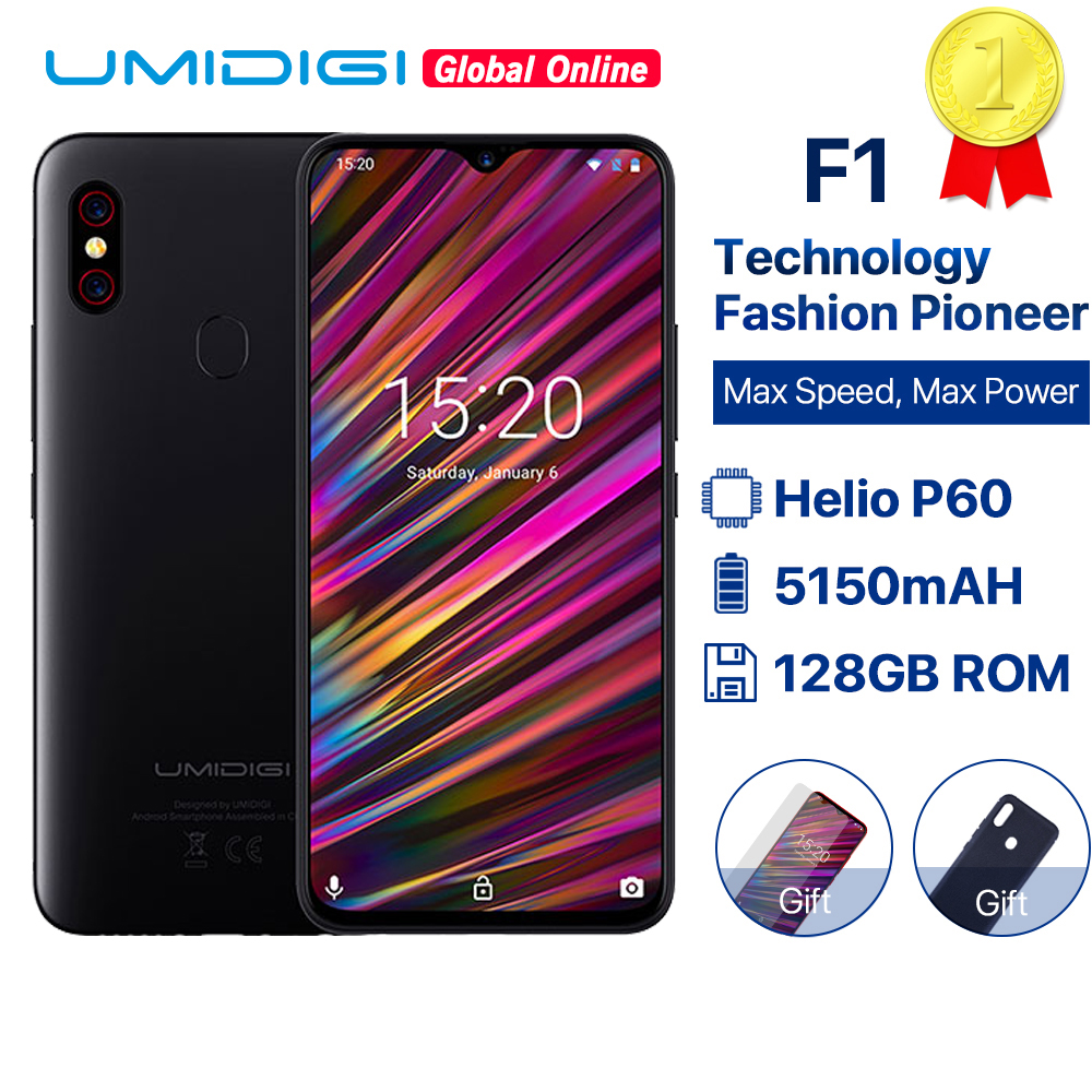"""UMIDIGI F1 6.3"""" Waterdrop FHD smartphone Android 9.0 Helio P60 AI Global Band 128GB 5150mAh Mobile phone NFC 16MP 4G cell phones"""