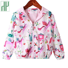 лучшая цена kids Girls Jackets Autumn Spring Hooded Unicorn Pattern Jacket Windbreaker For Girls Children  Outerwear Clothes Trench Coat