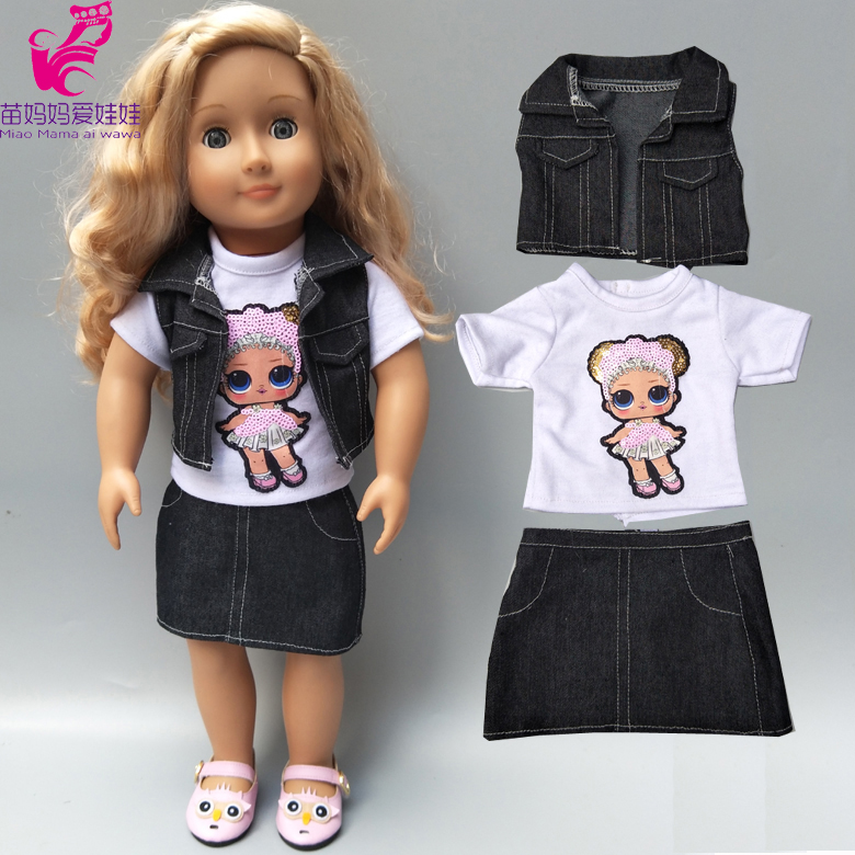18 Inch Girl Doll Jacket Vest Shirt Skirt Baby New Born Dolls Clothes Denim Coat Dress