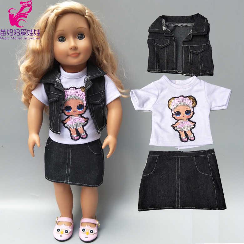 18 インチの女の子の人形ジャケットベストシャツスカートベビー新生児人形服デニムコートドレス