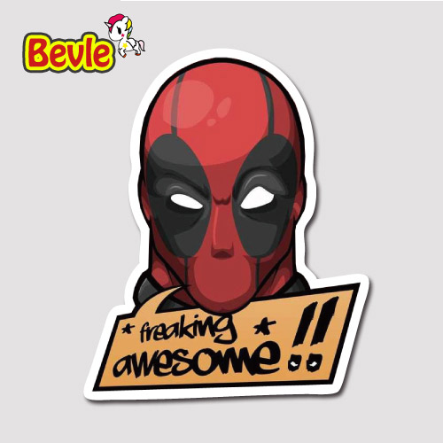 Bild von Bevle 9649 Marvel Super Hero Deadpool Waterproof Travel Suitcase Stickers Tide Fashion Skateboard Graffiti Fashion 3M Sticker