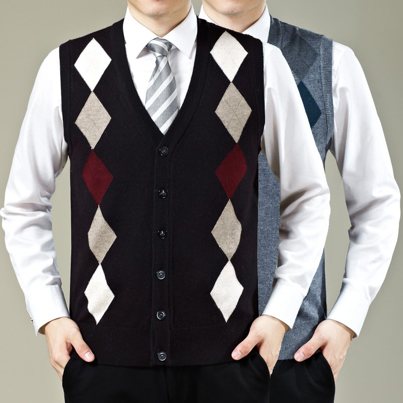 2016 New design autumn and winter mens cashmere sleeveless argyle cardigan sweater vest(China (