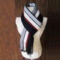 10 unids hombres chic imitación de cachemir de rayas de punto bufandas de invierno bufanda con borla, diseñador de moda Bussiness Casual bufandas del mantón
