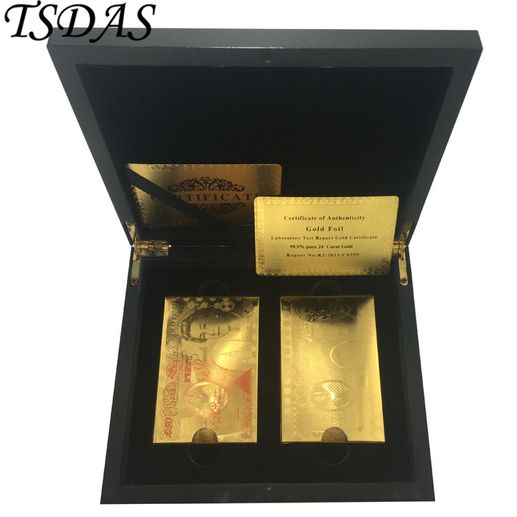 2 Deck Golden & Colorful Customized Gold Foil Playing Cards with UK 50 Pound Plastic Cards Poker Waterproof Playing Cards