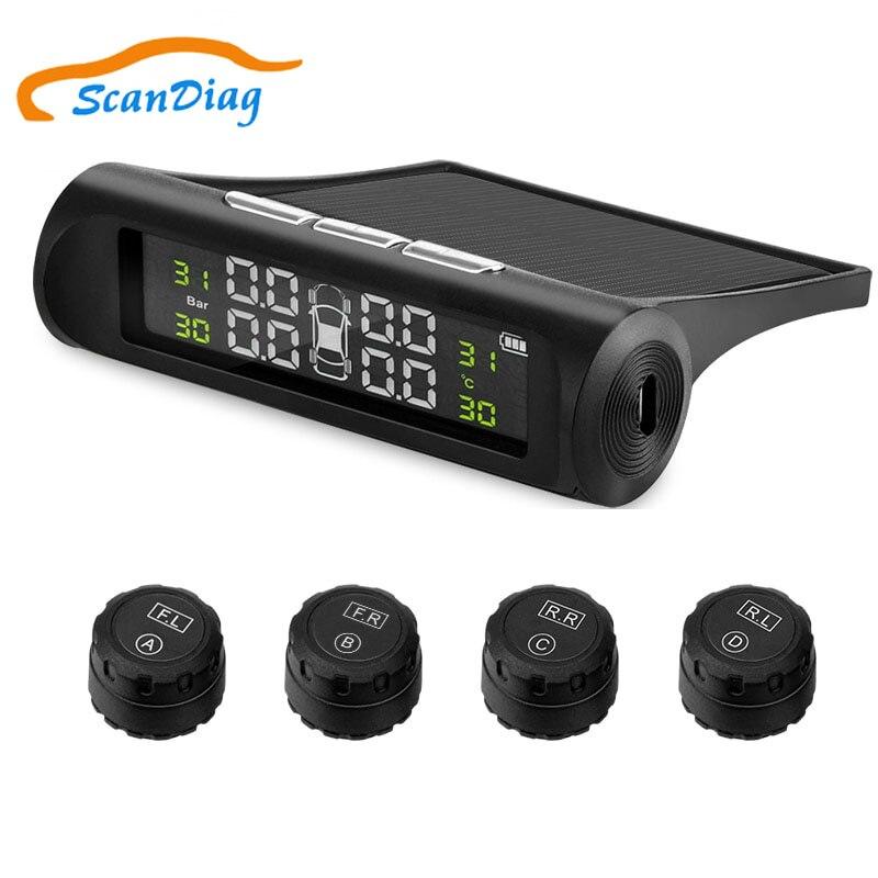 Système de moniteur d'alarme de pression des pneus de voiture TPMS à énergie solaire affichage LCD sans fil voiture 4 capteur externe alarme de température