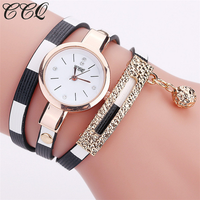 CCQ Brand Fashion Leather Bracelet Watches Women Luxury Stripe Style Wrist Watch