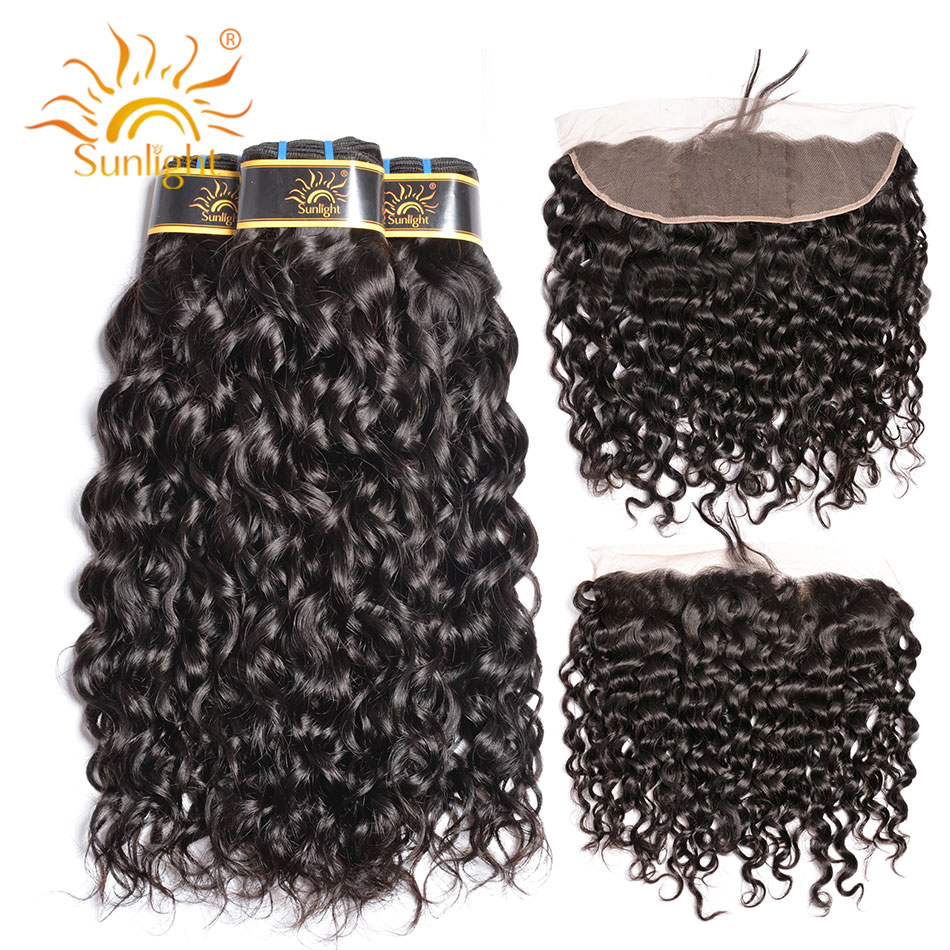 Sunlight Peruvian Water Wave 3 Bundles With Frontal Non Remy Hair Extensions 8 28 Inch Natural