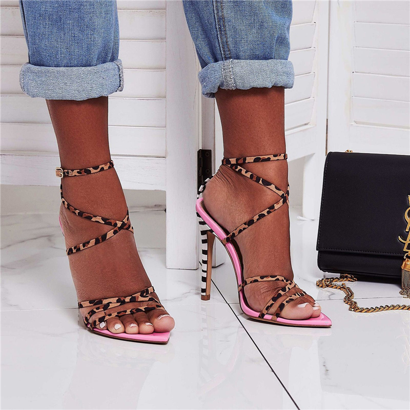 2019 Summer Special Sexy Yellow Women 11cm High Heels Leopard Cross Strap Stripper Sandals Female Fetish Shoes Lady Pink Pumps