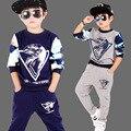 4 6 8 10 12 anos meninos modelos primavera roupas de hip hop esporte dos miúdos terno longo-sleeved camisola de algodão T-camisa sportswear