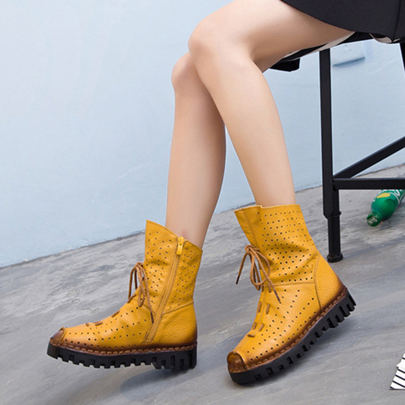 Autumn Women Flat Platform High Top Boots Zipper Lace Up Mid Calf Cut Out Female Shoes Breathable Casual Ladies Footwear 2018 green cut out halter half sleeves casual top
