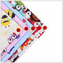 5 PCS Mixed Fabrics 100% Cotton Twill Cartoon Style Owl Scrap Dolls for Fat Dormitory Quilted 40cmx50cm Pillows Baby Cloth print