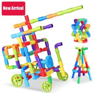 Image 5 - 38 306pcs חינוכיים DIY צינור מים אבני בניין הרכבת צינור מנהרת פלסטיק בלוקים צעצועים לילדים מתנות
