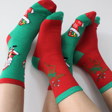 free shipping 1000PCS/LOT Women Cotton Socks Christmas Donuts Deer Creative Long Black Red Socks Ladies Female Gift Hosiery