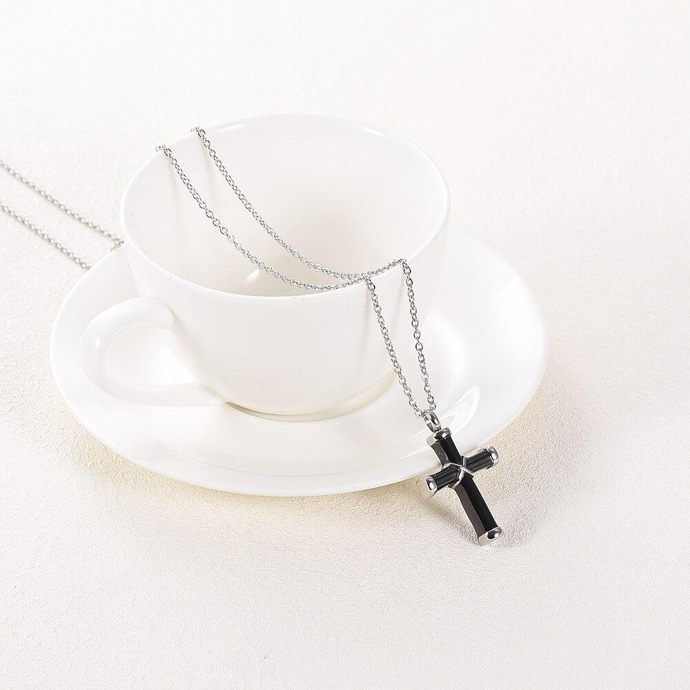 LKJ003 Top Quality Black Cross Cremation Necklace Hold Loved Ones' Ashes Funeral Urn Casket - Custom Name/ Date Engravable 4