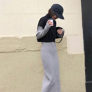 Conjunto De Dos Piezas Bodycon | 2019 Nuevo Otoño Invierno Moda Mujer Traje Oversize Tejido Chaleco Suéter Y Bodycon Suéter Vestido Dos Piezas Conjunto K277