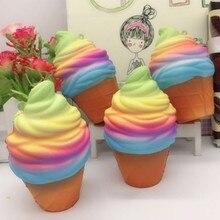 купить Jumbo Squishy Ranbow Ice Cream Cone PU Slow Rising Soft Squishes Novelty Stress Relief Healthy Toy 10cm по цене 77.22 рублей