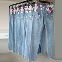 Spring Summer Jeans Women 2018 New Embroidery Beads Fashion Handmade Three dimensional Flowers High Waist Jeans Denim Pants