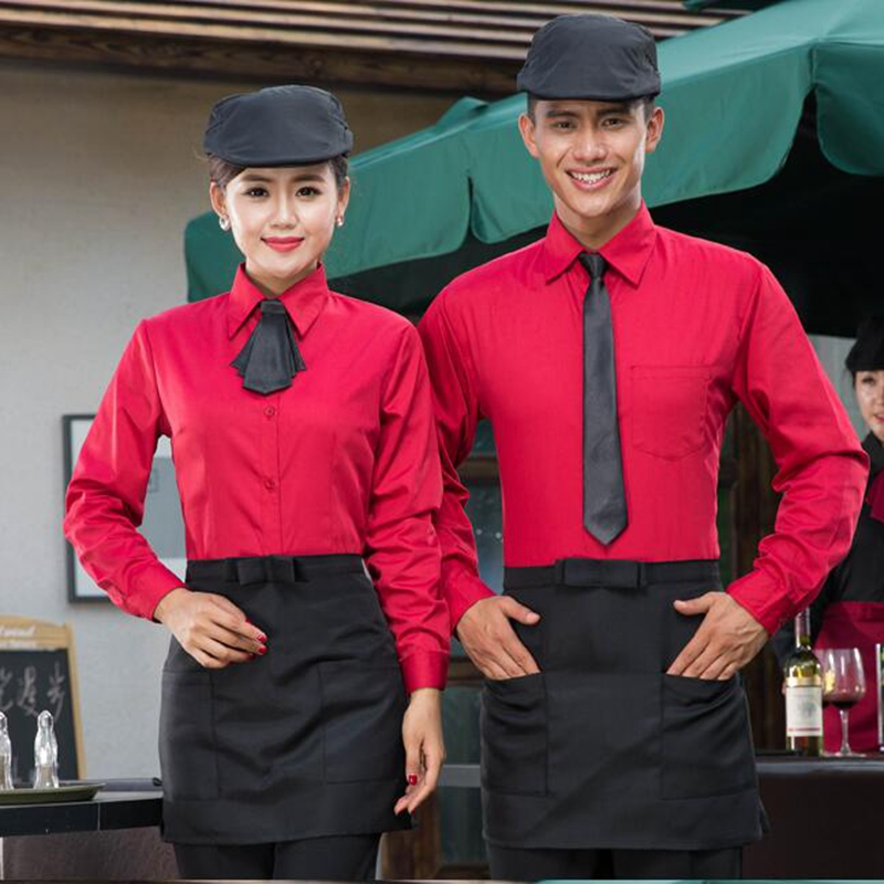 Hotel Waiter Uniform Long Sleeved Fast-food Restaurant Waiter Work Clothes Female Restaurant Uniforms
